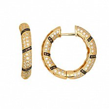 Серьги-кольца из желтого золота с белыми и оранжевыми фианитами Зена