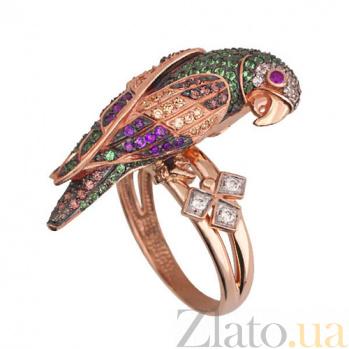 Кольцо из красного золота Королевский попугай с фианитами VLT--ТТ1034-2