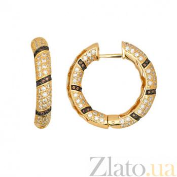 Серьги-кольца из желтого золота с белыми и оранжевыми фианитами Зена VLT--ТТ2207-1