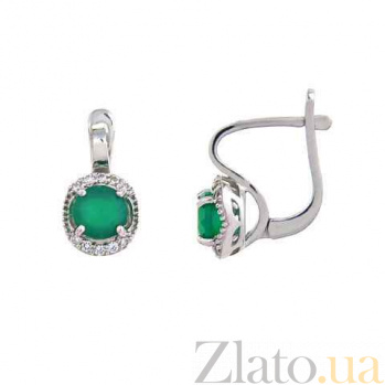 Серьги из серебра с зеленым агатом Весенний луг AQA--E01294Ag