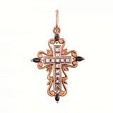 Золотой крест Сияние веры в комбинированном цвете с черными и белыми фианитами