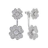 Серебряные двусторонние серьги Flowers с цирконием