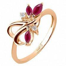 Кольцо из красного золота с рубинами и бриллиантами Рубиния