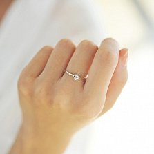 Золотое кольцо в красном цвете с бриллиантом Вечная любовь, 3,7мм