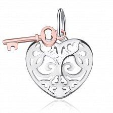 Серебряная подвеска Ключ от сердца в комбинированном цвете в стиле Тиффани