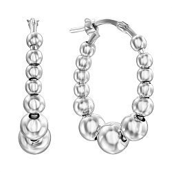 Серебряные серьги-кольца с шариками, 25мм 000136124