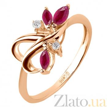 Кольцо из красного золота с рубинами и бриллиантами Рубиния TRF--1121362н
