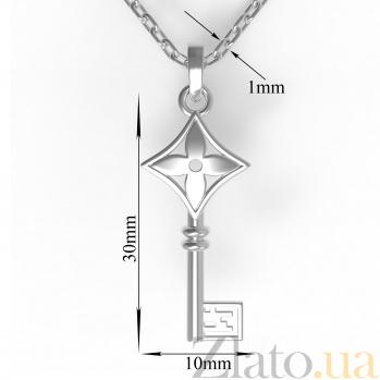 Серебряное колье Чувственнось с подвеской-ключом в стиле Луи Виттон 000080435