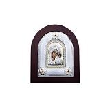 Икона Казанской Божьей Матери из серебра с позолотой