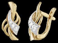 Позолоченные серебряные серьги с фианитами Ингимунд