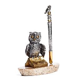 Серебряная подставка под ручку с агатом и позолотой 000004758