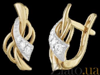 Позолоченные серебряные серьги с фианитами Ингимунд SLX--С3Ф/038