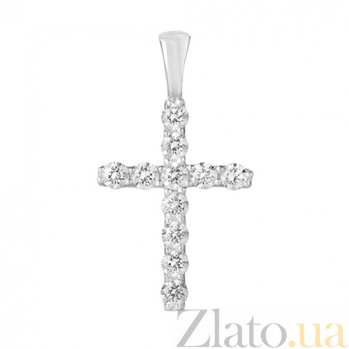 Серебряный крестик с фианитами Имидж 3287