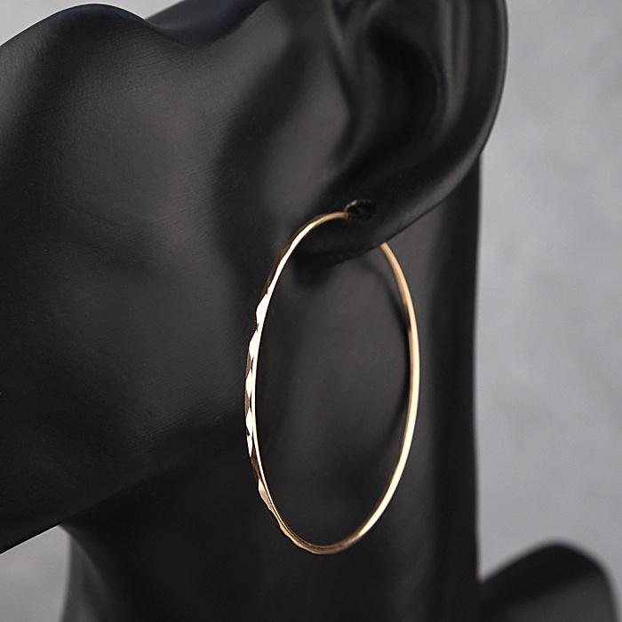 Серьги-кольца из красного золота Миранда с граненой поверхностью, диам. 50мм 000079598
