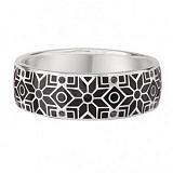 Золотое обручальное кольцо Стильный образ с чёрными бриллиантами и эмалью