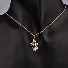 Золотой кулон Нежный ангел с завальцованным белым фианитом