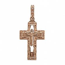 Золотой крестик Слава Божия с фианитами и эмалью