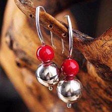 Серебряные серьги Варенька с красным кораллом