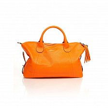 Кожаная сумка на каждый день Genuine Leather 8961 оранжевого цвета с декоративной подвеской-кистью