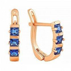 Позолоченные сережки из серебра с синим цирконием 000024770