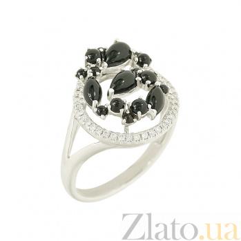 Золотое кольцо с ониксом и бриллиантами Дафна 1К193-0060