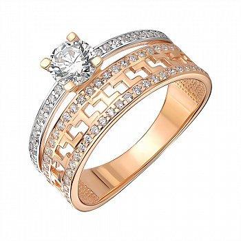 Кольцо из красного золота с фианитами 000146022