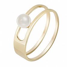 Кольцо из желтого золота с жемчугом Встреча у моря