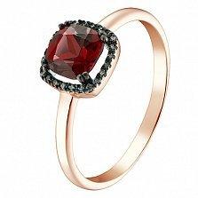 Кольцо в красном золоте Лада с гранатом и бриллиантами