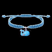 Детский плетеный браслет Рыба Кит с эмалью и фианитами, 10х20см