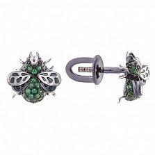Серебряные пуссеты с зеленой шпинелью Мушки