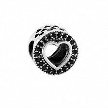 Серебряный шарм Sweet Love с черными фианитами и вырезами в форме сердечек