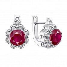 Серебряные серьги с рубинами и фианитами 000133751