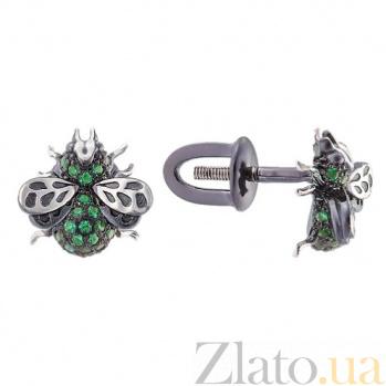 Серебряные пуссеты с зеленой шпинелью Мушки 1702