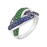 Золотое кольцо с аметистами, цаворитами, сапфирами и бриллиантами Сплетение звезд