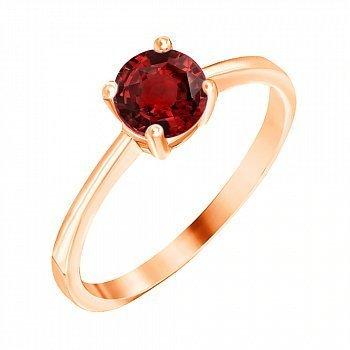 Позолоченное серебряное кольцо с красным цирконием  000028209
