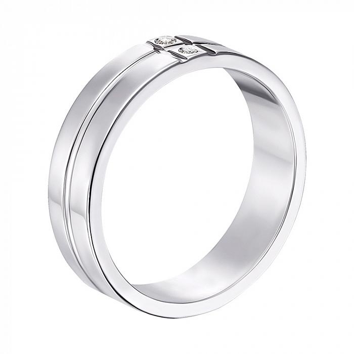 Обручальное кольцо из белого золота с фианитами 000000326 10129б