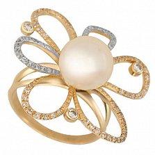 Кольцо из красного золота с жемчугом и цирконием Азалия
