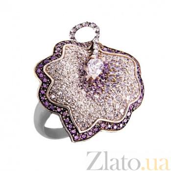Кольцо из белого золота Калла с фиолетовыми фианитами VLT--ТТ1015