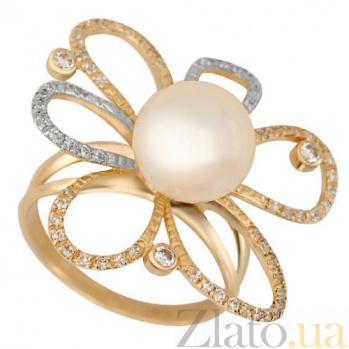 Кольцо из красного золота с жемчугом и цирконием Азалия VLT--TT1188