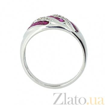 Серебряное кольцо с бриллиантами и рубинами Беатрис 000022172