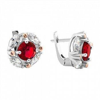 Серебряные серьги с золотыми накладками и красным и белым цирконием 000094603
