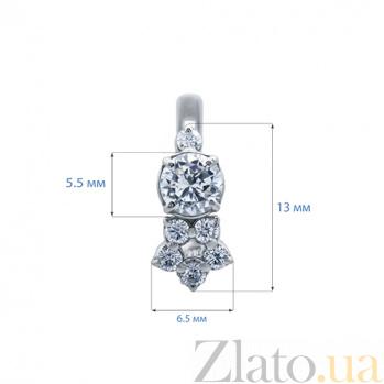 Серебряные серьги с белым цирконием Цветок AQA--72051б