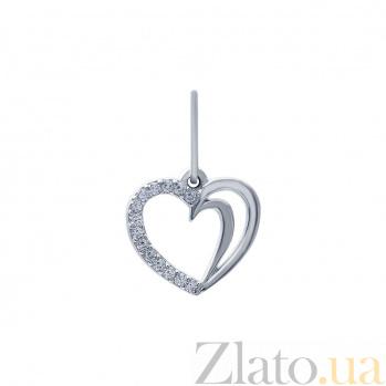Серебряный кулон с фианитами Сердце AQA--ПП-113