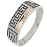 Серебряное кольцо с золотой вставкой Сократ