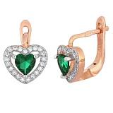 Позолоченные серебряные сережки с зеленым цирконием Love you