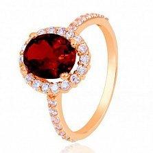 Золотое кольцо Альда с гранатом и фианитами
