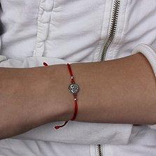 Шелковый браслет Вечное древо с серебряной вставкой