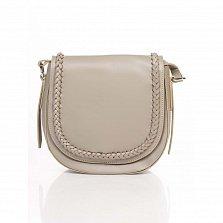 Кожаный клатч-седло Genuine Leather 6562 цвета розовый мокко с декоративным элементом