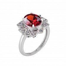 Серебряное кольцо Сияние с красным корундом и фианитами