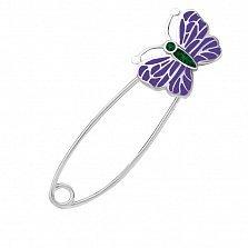 Серебряная булавка Милая бабочка с сиреневой эмалью